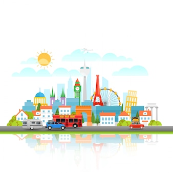 Modern cityscape with different vehicle. vector illustration. travel concept