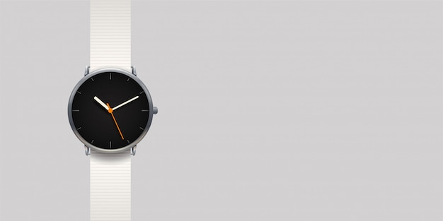 Modern classic watch on grey background