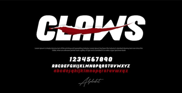 Sport modern italic alphabet font and number  typography