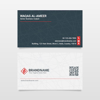 Modern clean black and white business card   template