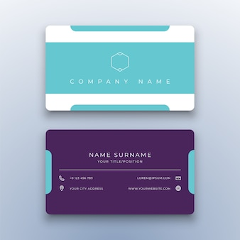 Modern clean business card on white