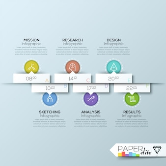 Modern clean business rectangle origami style timeline banner