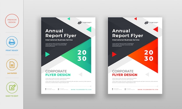 Modern clean corporate, company annual report flyer poster design template