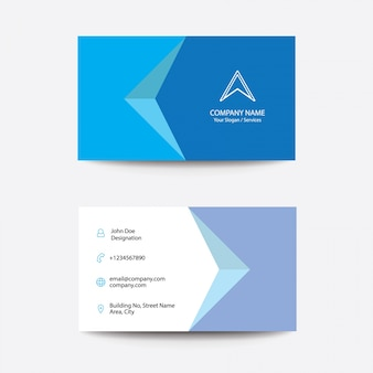 Modern clean flat concept business visiting card - blue