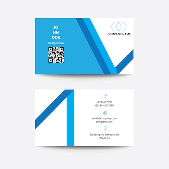 Modern clean flat design blue white color business visiting card