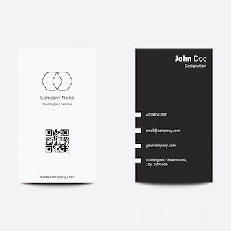 Modern clean flat design silver black business visiting card