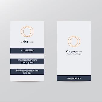 Modern clean flat design silver blue orange color business visiting card