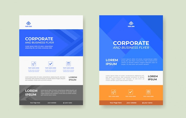 Modern and clean flyer poster template, blue and yellow background