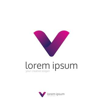 Modern clean letter v logo