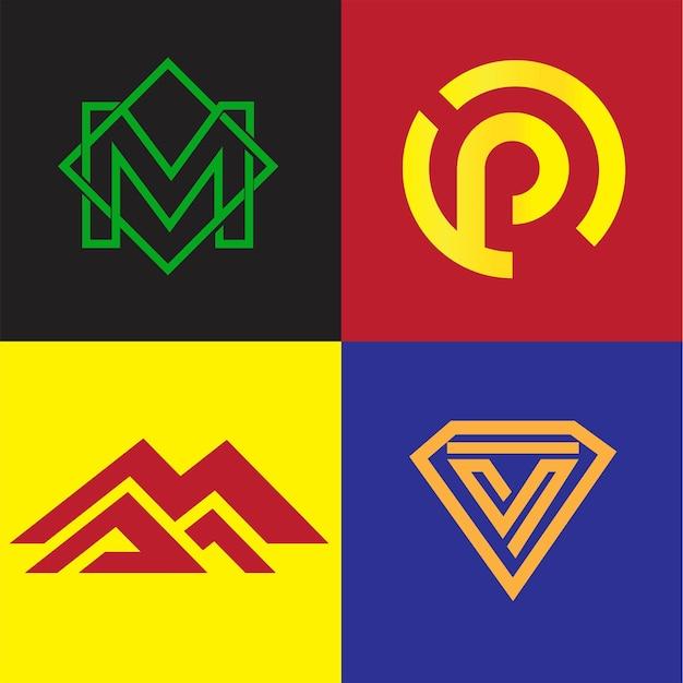 モダンでクリーンなミニマリストのモノグラムロゴ文字m、p、v、mma