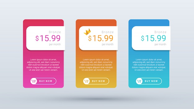 Modern and clean pricing table plan with vibrant gradient color for web and mobile application.