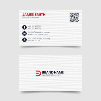 Modern clean and simple white business card template