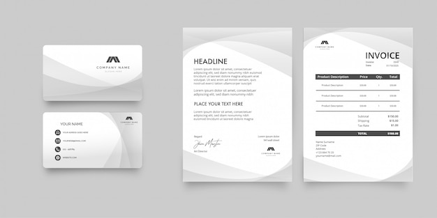 Modern clean stationery pack template Free Vector
