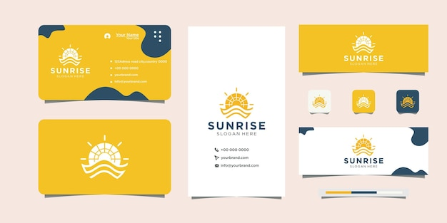 Modern clean sunrise logo and business card