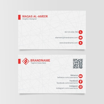Modern clean white corporate business card design template
