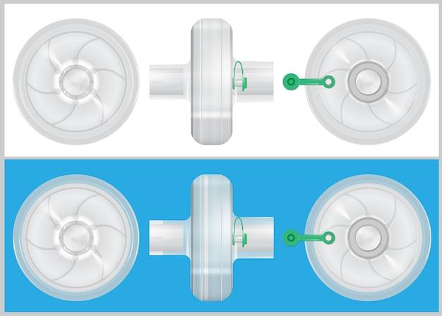 Современный прозрачный дыхательный фильтр. 3d векторная иллюстрация