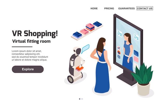 Pagina di destinazione isometrica del negozio di abbigliamento moderno