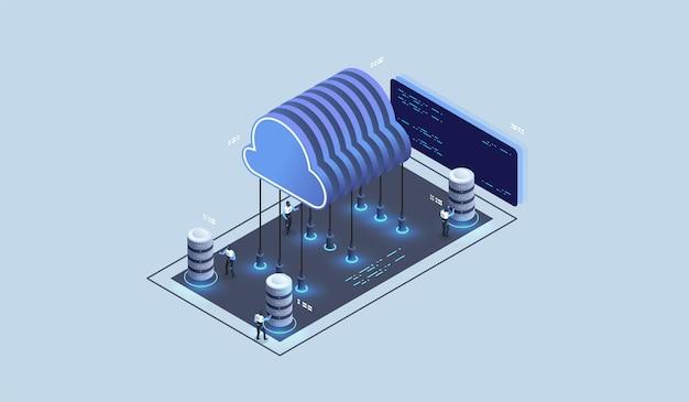현대 클라우드 기술 및 네트워킹 개념. 클라우드 데이터베이스, 미래형 서버 에너지 스테이션.