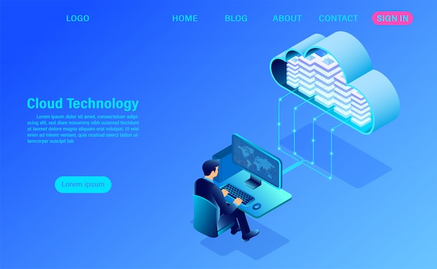 Modern cloud technology and networking landing page template Premium Vector