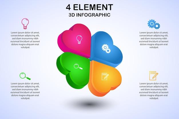 Современный клевер 3d инфографическая диаграмма с 4 элементами