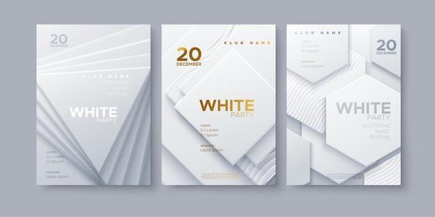 Modern club white party invitation template