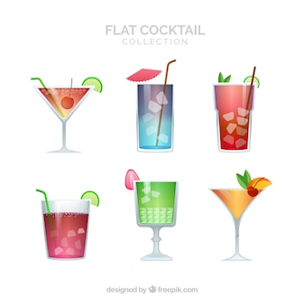 Modern cocktail collection with flat design