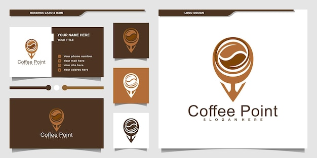 Modern coffee point logo design with unique style and business card design template premium vektor
