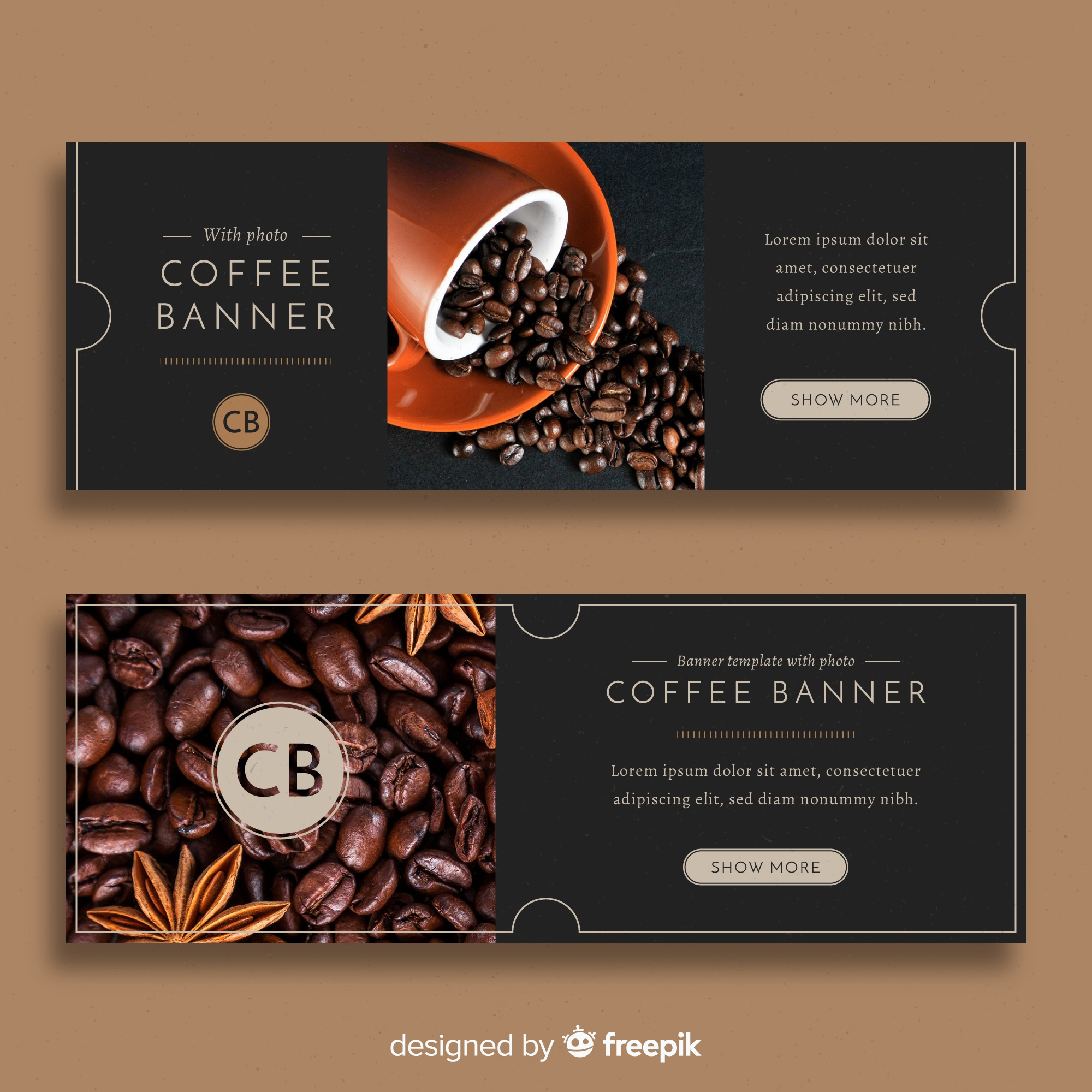 Modern coffee shop banners with photo