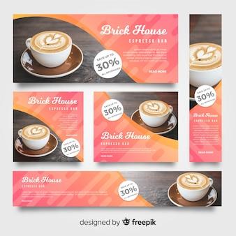Bandiere moderne della caffetteria con la foto