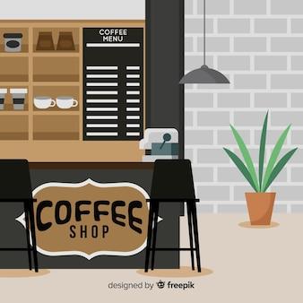 평면 디자인으로 현대적인 커피 숍 인테리어