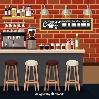 Modern coffee shop interior with flat design