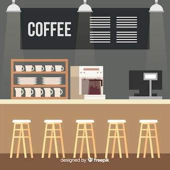Modern coffee shop interior with flat design