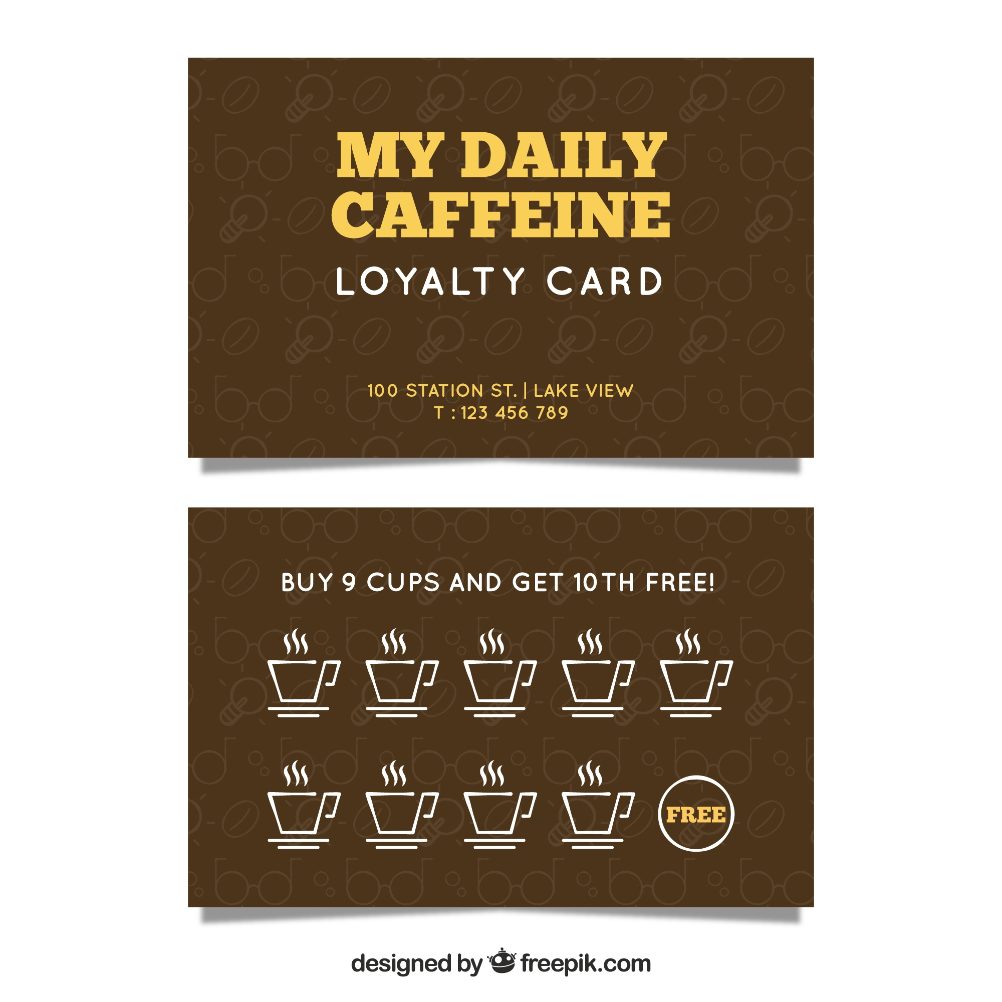 Modern coffee shop loyalty card template