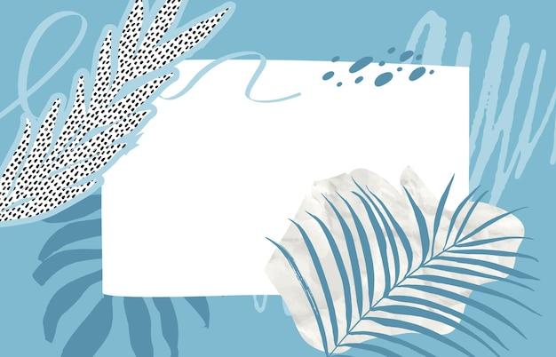 열대 잎, 파스텔 블루 브러시 스트로크 및 얼룩이 있는 현대적인 콜라주. 가로 액자 빈 copyspace입니다. 구겨진 종이와 상체 잎 디자인 구성.