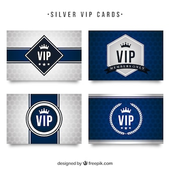Modern collection of silver vip cards