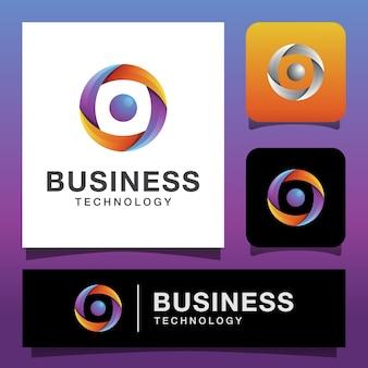 비즈니스 기술 로고, 글로벌 미디어 로고 디자인으로 현대적인 색상 추상 글로브