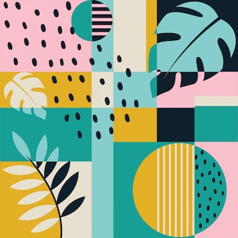 Modern color block tropical seamless pattern