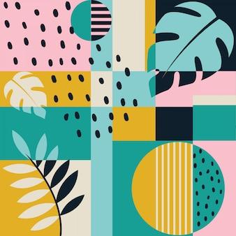 Modern color block tropical seamless pattern