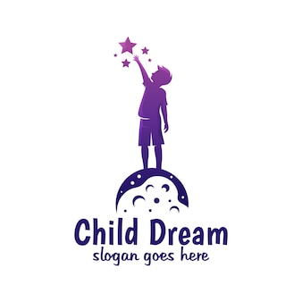 Modern color child dream, reach star, reaching dream logo design