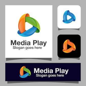 モダンカラーサークルメディアプレイロゴ。マルチメディアシンボルテンプレート