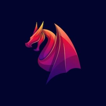 モダンな色のドラゴンのロゴ
