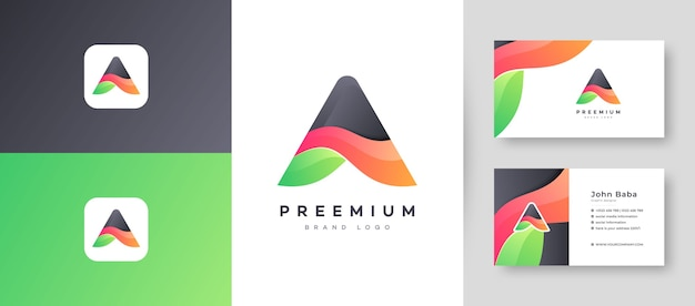 Modern color gradient letter a logo with premium business card design  template for your company business