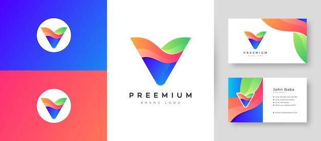 회사 비즈니스를위한 프리미엄 명함 디자인 벡터 템플릿이있는 현대적인 컬러 그라데이션 문자 v 로고