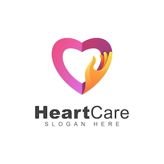 Modern color heart care or love hand logo, love family logo design  template