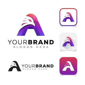 モダンな色の頭文字のワシのロゴデザインテンプレート