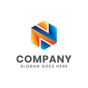 Современная цветная буквица n шестиугольник логотип для вашего бизнеса или компании Premium векторы