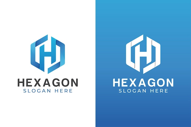 Modern color letter h with hexagon logo design two versions