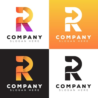 Modern color letter r with arrow collection logo style