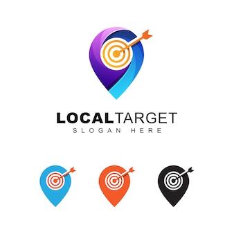 Современный цветной локальный целевой объект или логотип с ориентацией на местоположение булавки