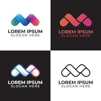 초기 문자 m의 현대적인 색상 로고 디자인